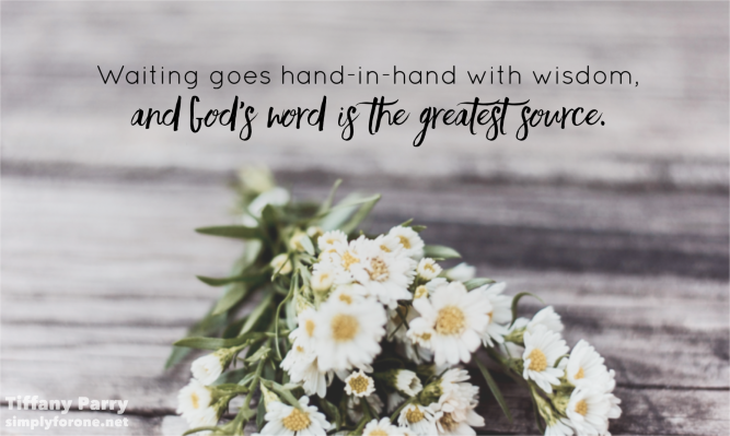 Waiting goes hand in hand with wisdom, and God's word is the greatest source. {When You're Waiting on God} www.simplyforone.net http://wp.me/p2v8DX-LT