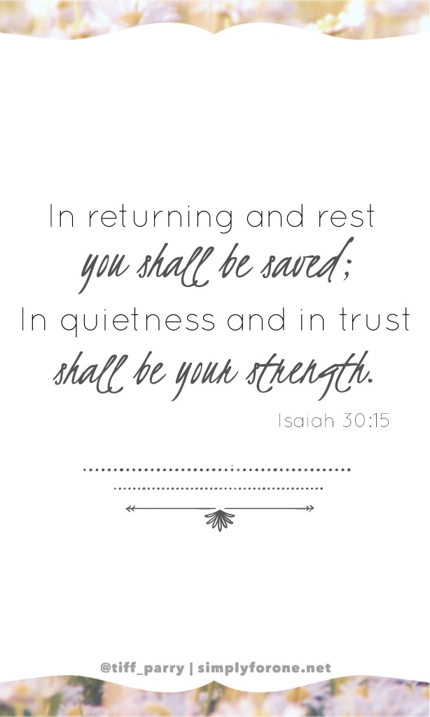In Returning and Rest Isaiah 30:15 | Faith | Strength | Christian | Hope | Encouragement | Inspiration | www.simplyforone.net